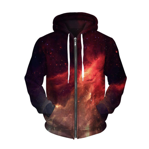 Fiery Galaxy Zip Up Hoodie