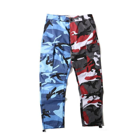 Split Camo Joggers - BLUE/RED