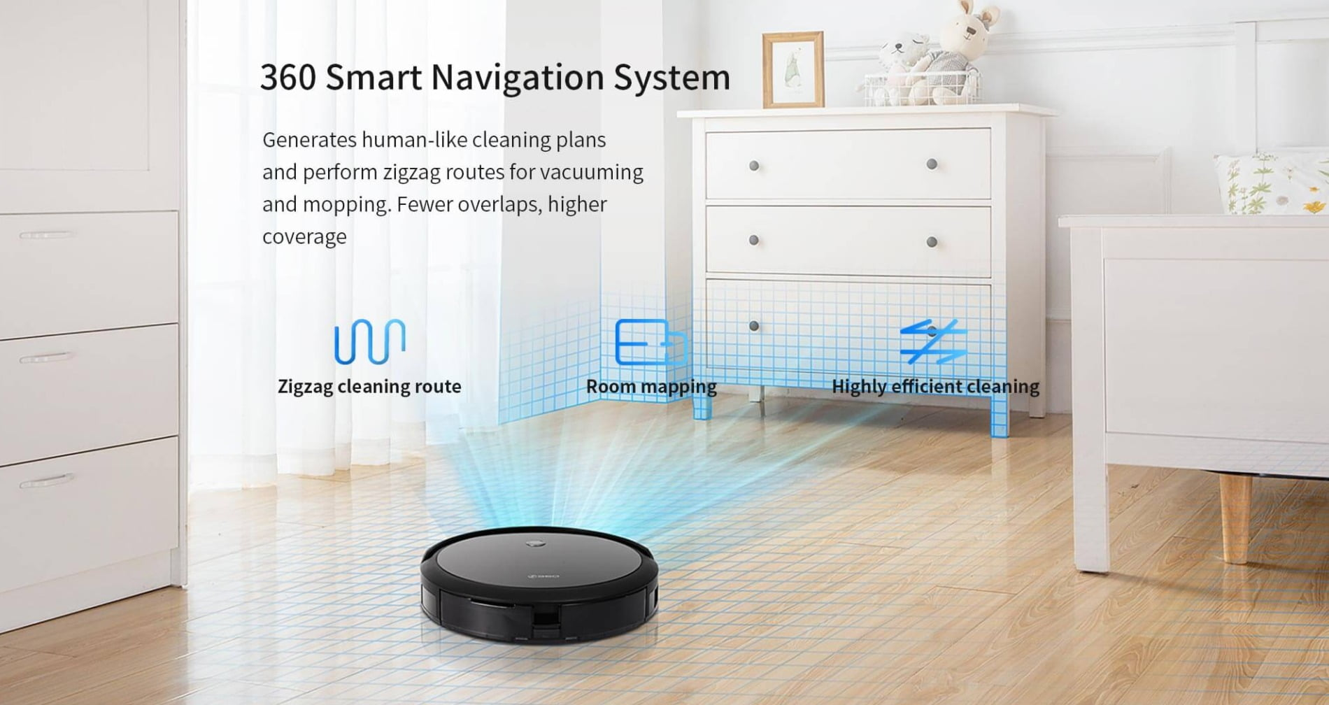 360 - C50 Robot Vacuum Cleaner, Suction, Sweep, Mop
