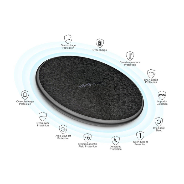 Ulefone UF002 10W 9V Fast Charging Qi Wireless Desktop Leather Charger
