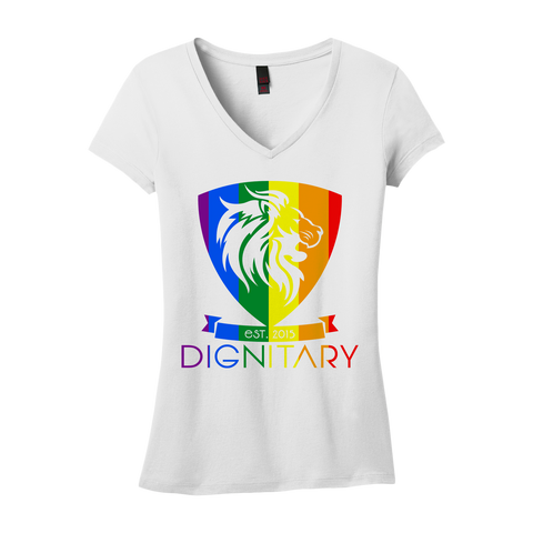Ladies' Rainbow V-Neck T-Shirt