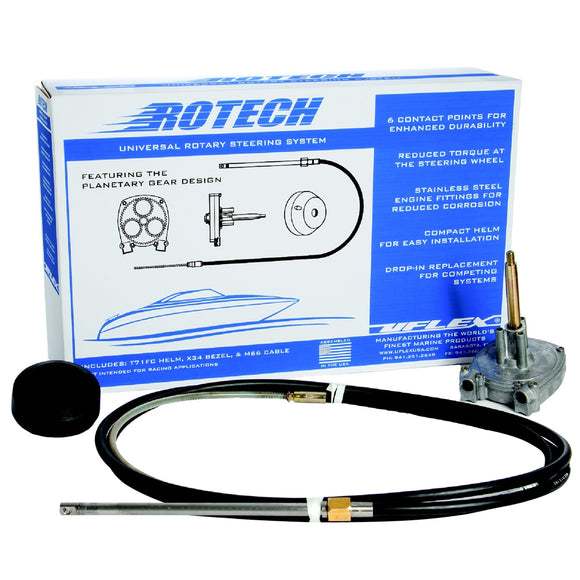 Uflex Rotech 14 Rotary Steering Package - Cable Bezel Helm [Rotech14Fc] - Boat Outfitting