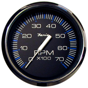 Faria Chesapeake Black Ss 4 Tachometer - 7 000 Rpm (Gas - All Outboards) [33718] - Boat Outfitting