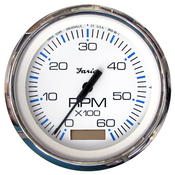 Faria Chesapeake White Ss 4 Tachometer W-Hourmeter - 6 000 Rpm (Gas - Inboard) [33832] - Boat Outfitting