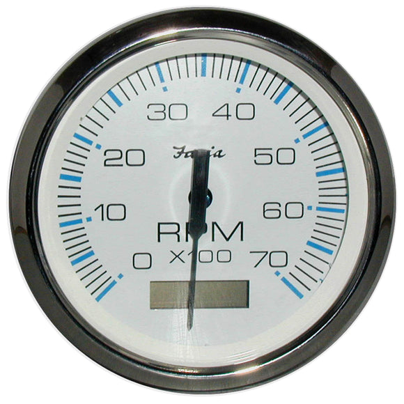 Faria Chesapeake White Ss 4 Tachometer W-Hourmeter - 7 000 Rpm (Gas - Outboard) [33840] - Boat Outfitting