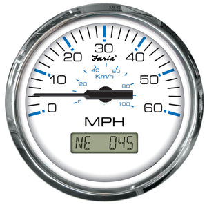 Faria Chesapeake White Ss 4 Speedometer - 60Mph (Gps) [33826] - Boat Outfitting
