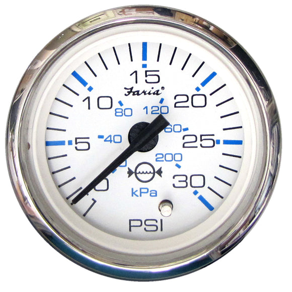 Faria Chesapeake White Ss 2 Water Pressure Gauge Kit - 30 Psi [13812] - Boat Outfitting
