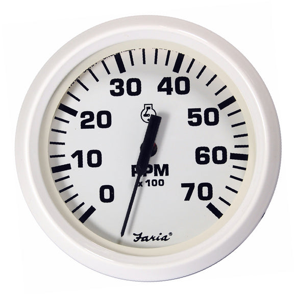 Faria Dress White 4 Tachometer - 7 000 Rpm (Gas - All Outboards) [33104] - Boat Outfitting