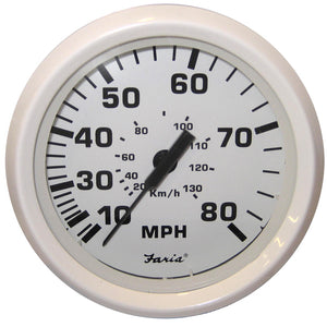 Faria Dress White 4 Speedometer - 80Mph (Mechanical) [33113] - Boat Outfitting