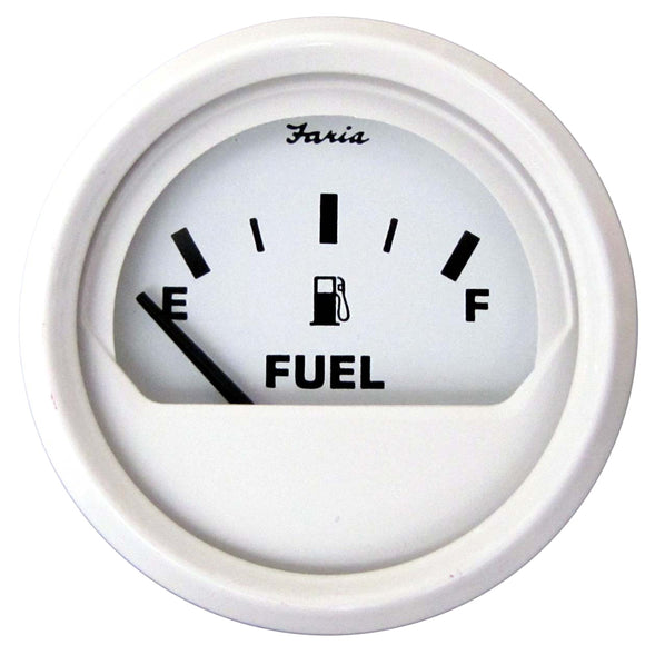 Faria Dress White 2 Fuel Level Gauge (E-1-2-F) [13101] - Boat Outfitting