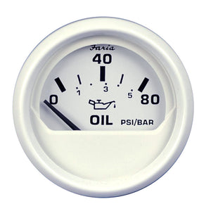 Faria Dress White 2 Oil Pressure Gauge - 80 Psi [13102] - Boat Outfitting