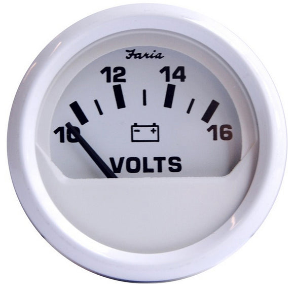 Faria Dress White 2 Voltmeter (10-16 Vdc) [13120] - Boat Outfitting