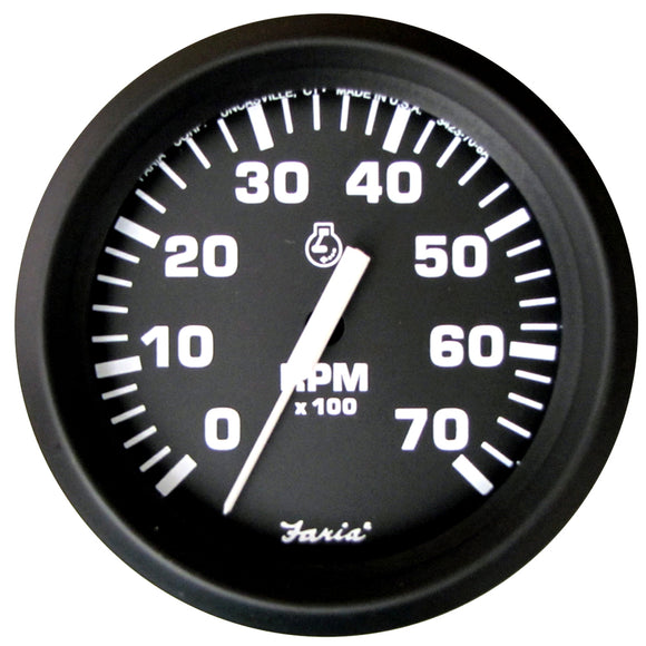 Faria Euro Black 4 Tachometer - 7 000 Rpm (Gas - All Outboard) [32805] - Boat Outfitting