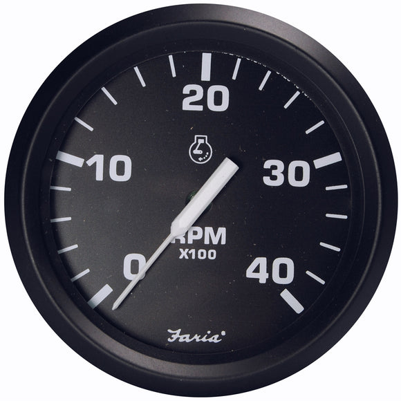 Faria Euro Black 4 Tachometer - 4 000 Rpm (Diesel - Magnetic Pick-Up) [32803] - Boat Outfitting