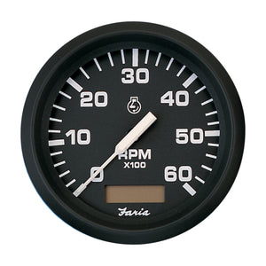 Faria Euro Black 4 Tachometer W-Hourmeter - 6 000 Rpm (Gas - Inboard) [32832] - Boat Outfitting