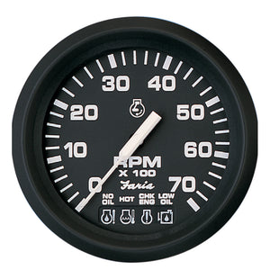 Faria Euro Black 4 Tachometer W-Systemcheck Indicator - 7 000 Rpm (Gas - Johnson - Evinrude Outboard) [32850] - Boat Outfitting