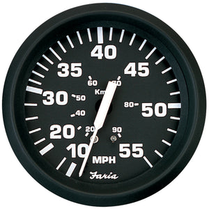 Faria Euro Black 4 Speedometer - 55Mph (Mechanical) [32810] - Boat Outfitting