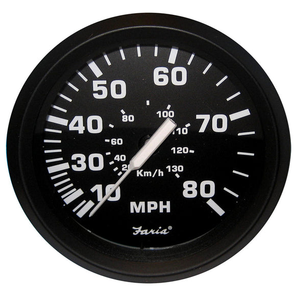 Faria Euro Black 4 Speedometer - 80Mph (Mechanical) [32812] - Boat Outfitting