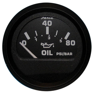 Faria Euro Black Oil Pressure Gauge - 80 Psi [12803] - Boat Outfitting