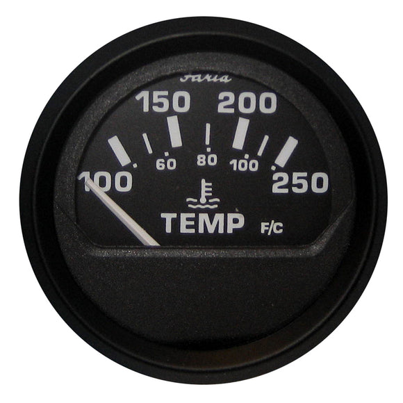 Faria Euro Black 2 Water Temperature Gauge (100-250 Degreef) [12812] - Boat Outfitting