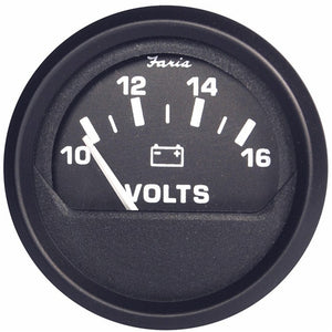 Faria Euro Black 2 Voltmeter (10-16 Vdc) [12821] - Boat Outfitting