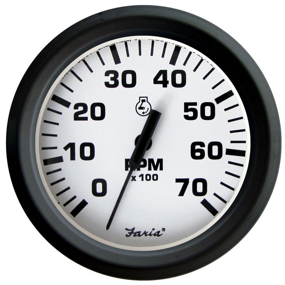 Faria Euro White 4 Tachometer - 7 000 Rpm (Gass - All Outboards) [32905] - Boat Outfitting