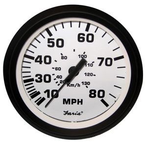Faria 4 Speedometer - 80Mph (Mechanical) - Euro White [32910] - Boat Outfitting