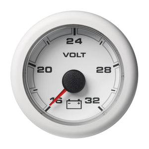 "VDO Marine 2-1-16"" (52MM) OceanLink Battery Voltage Gauge w-numerical reading - White Dial  Bezel [A2C1066130001]"