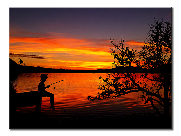 Boy Fishing Sunset - 1 Panel XL