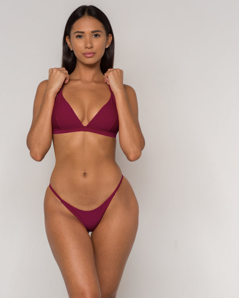 Wine Sexy Triangle Bikini - Sava Collection - xidornswim
