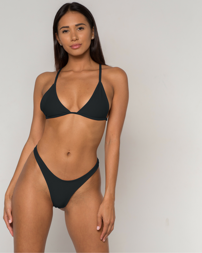 Black Ribbed Bikini - Simpa Collection - xidornswim