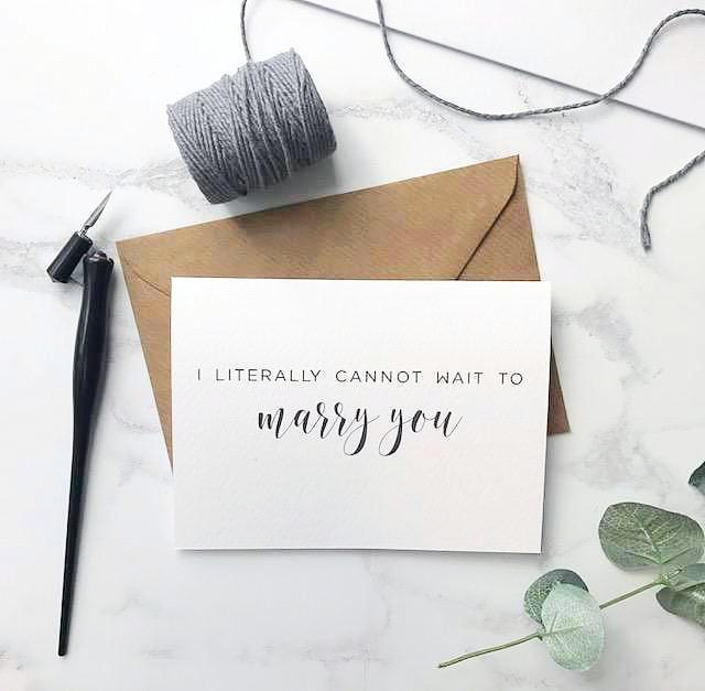 'Can't wait to marry you' card