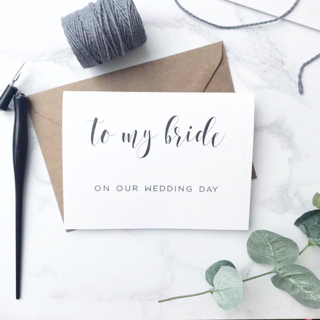 'To my bride' card
