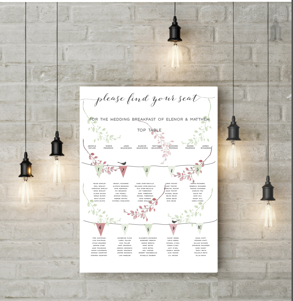 ROSE GOLD WREATH TABLE PLAN