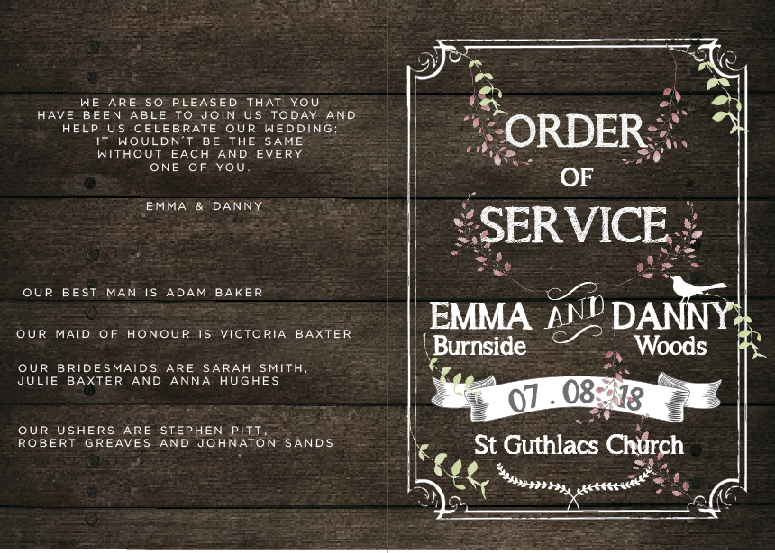 Order of Service and Wedding Programs