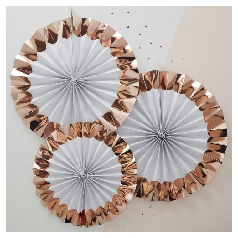 White and Rose Gold Paper Fan Decorations