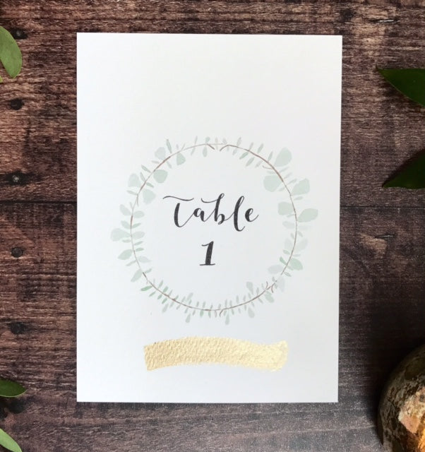 Rose Gold Wreath Table Number