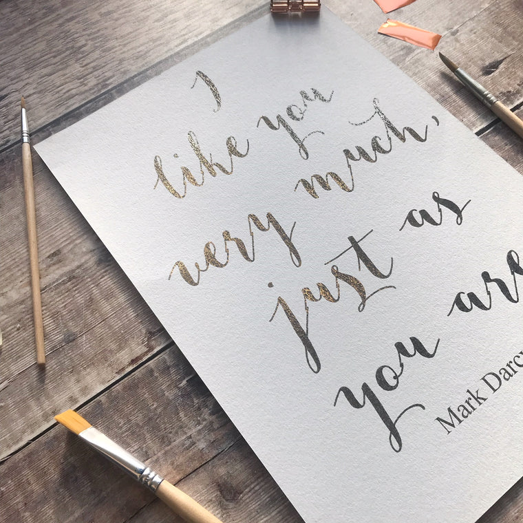 Mark Darcy Quote Gold Foiled Print