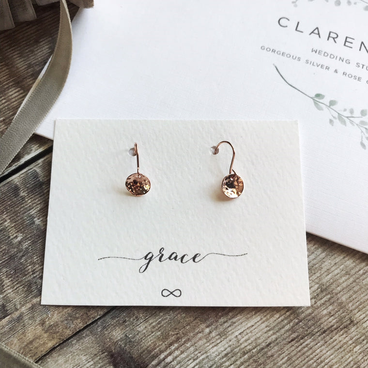 Hammered rose gold disk earrings