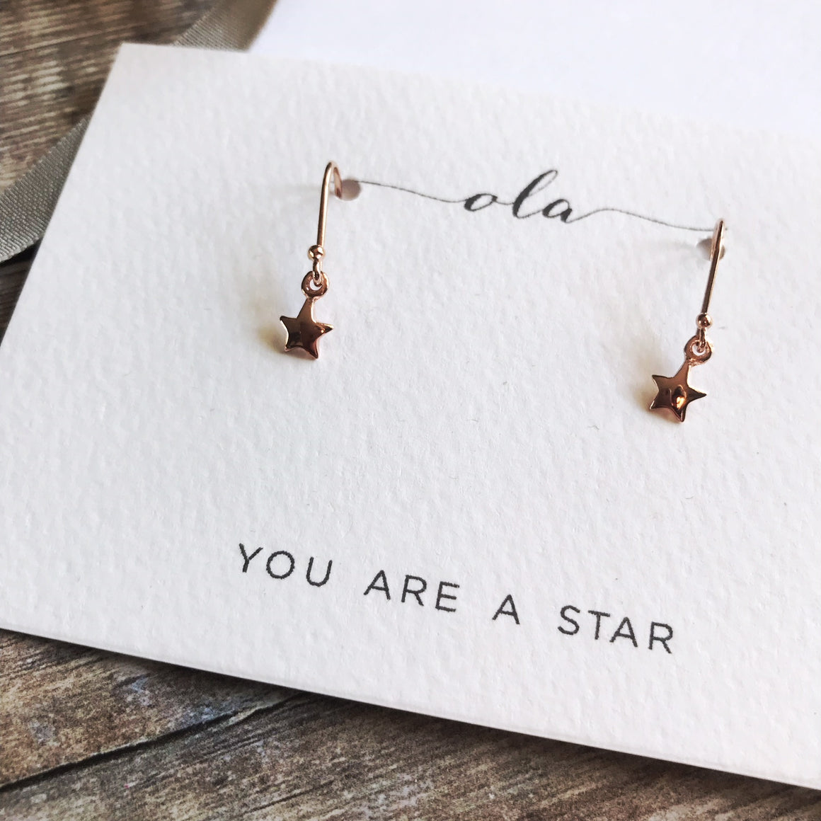 Tiny 'You are a Star' rose gold plated earrings