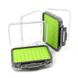 "Small Silicone Double Sided Clear Lid Waterproof Fly Box - 5"" X 4"" X 1.65"""