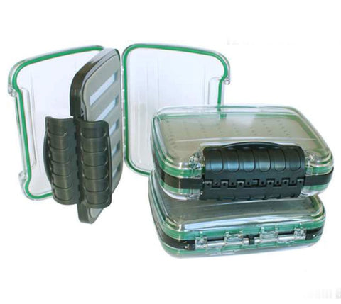 "SMALL DOUBLE SIDED CLEAR LID WATERPROOF FLY BOX - 5"" X 4"" X 1.65"""