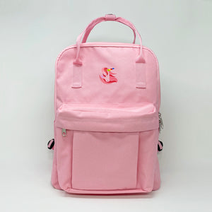 Rectangular Pink Canvas Backpack