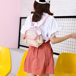Pink Rimmed Clear Holographic Mini Backpack - Unicornabilia