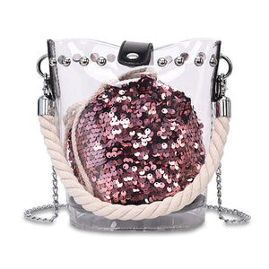 Sequin Sphere Transparent Bucket Bag - Unicornabilia
