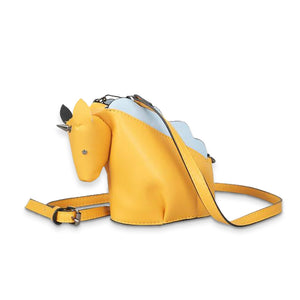 Yellow unicorn-shaped purse.