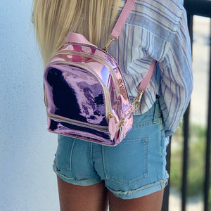 Pink Chrome Mini Backpack - Unicornabilia