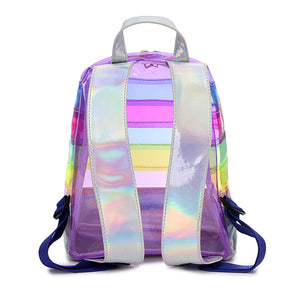 Clear Rainbow Striped Unicorn Backpack - Unicornabilia