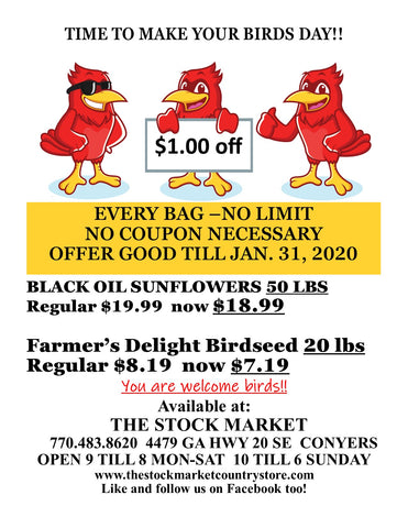 January bird seed sale in store