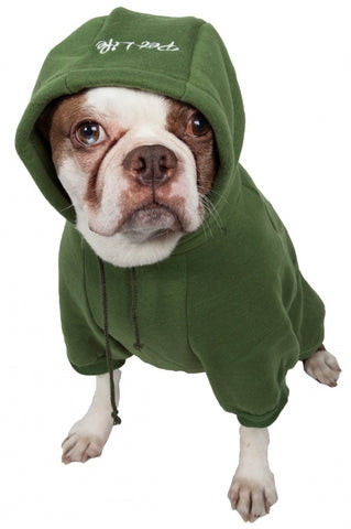 Pet Life Fashion Plush Cotton Hooded Green Dog Sweater